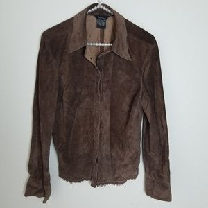 Brown Leather Button Down